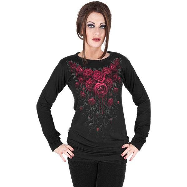 Spiral Direct Blood Rose Red Roses Garland Long Sleeved Viscose Tshirt Top