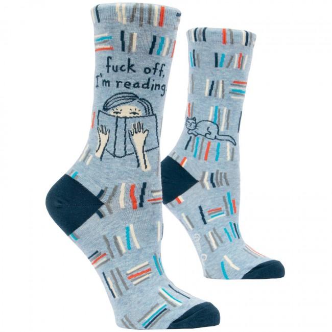 Blue Q-Fuck Off Im Reading Socks