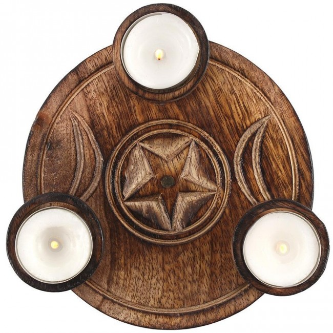 Something Different-Triple Moon Tea Light Candle Holder