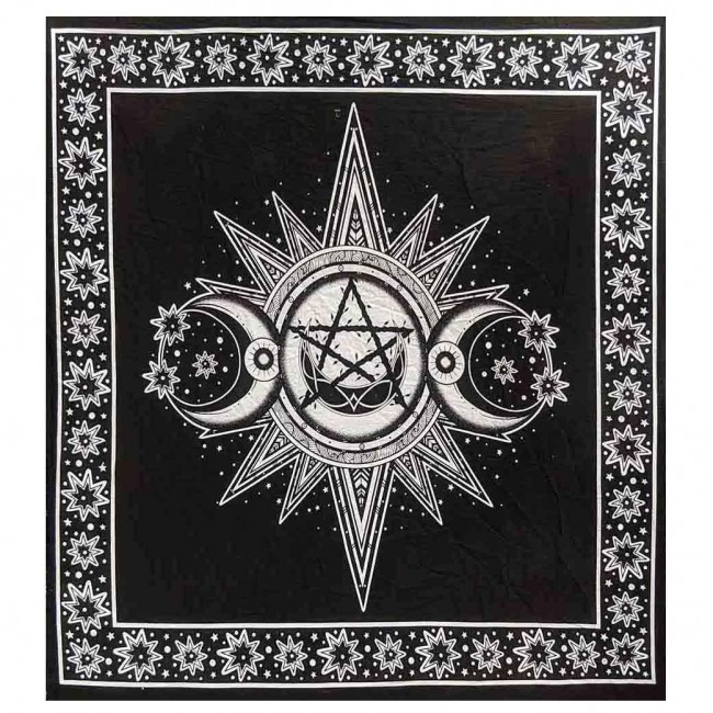 Phoenixx Rising-White Triple Moon Altar Cloth
