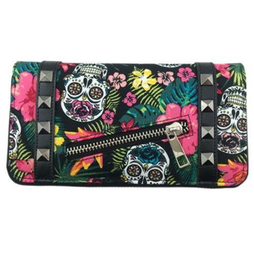 Banned Apparel-Hibiscus Skull Wallet