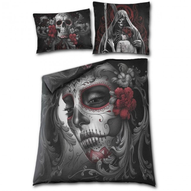 Spiral Direct-Skull And Roses Double Bedding Set