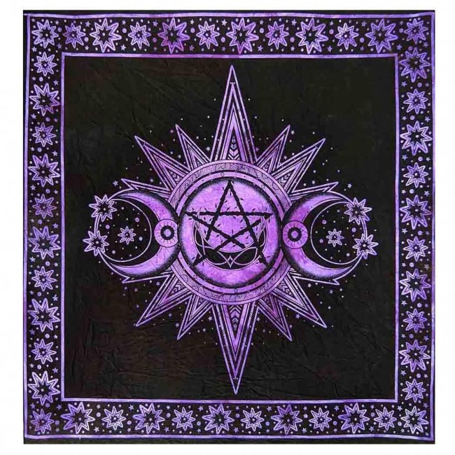 Phoenixx Rising-Purple Triple Moon Altar Cloth