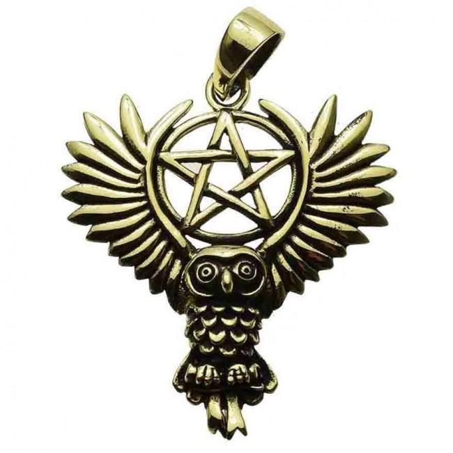 Lisa Parker-Owl Pentagram Bronze Pendant
