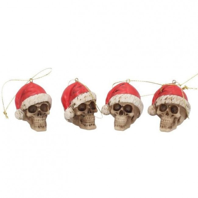 Nemesis Now-Silent Night Skull Baubles