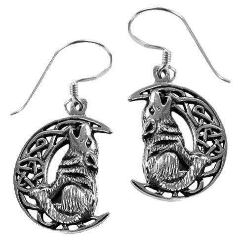 Lisa Parker-Silver Wolf On Moon Earrings