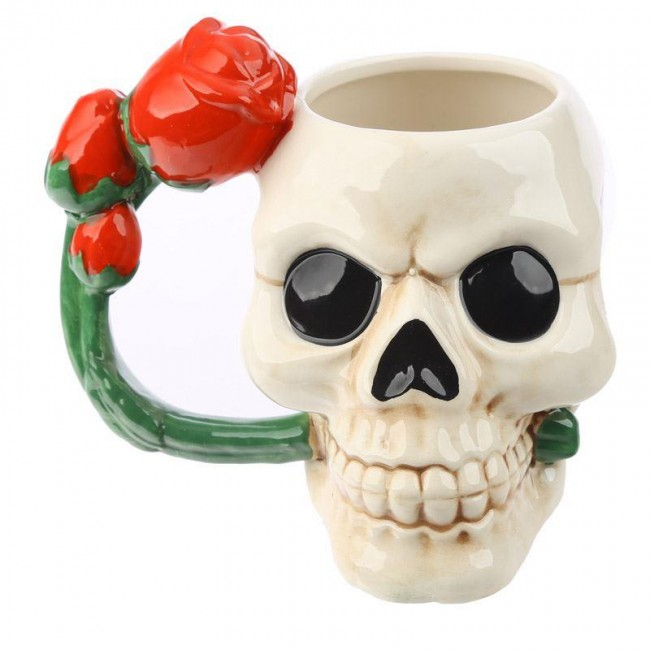 Puckator-Skull and Rose Ceramic Mug