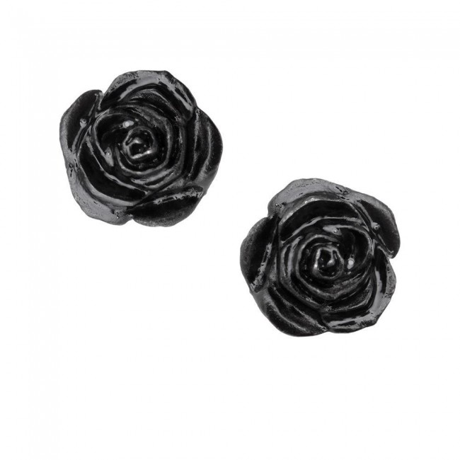 Alchemy Gothic-Black Rose Ear Studs