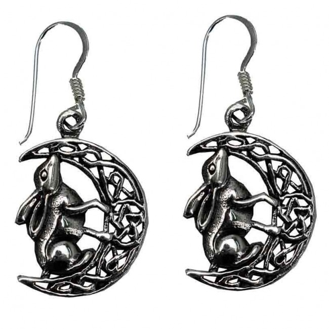 Lisa Parker-Silver Hare On Moon Earrings