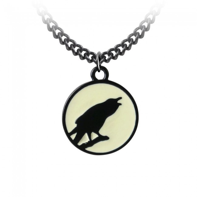 Alchemy Gothic-Caw at the Moon Pendant