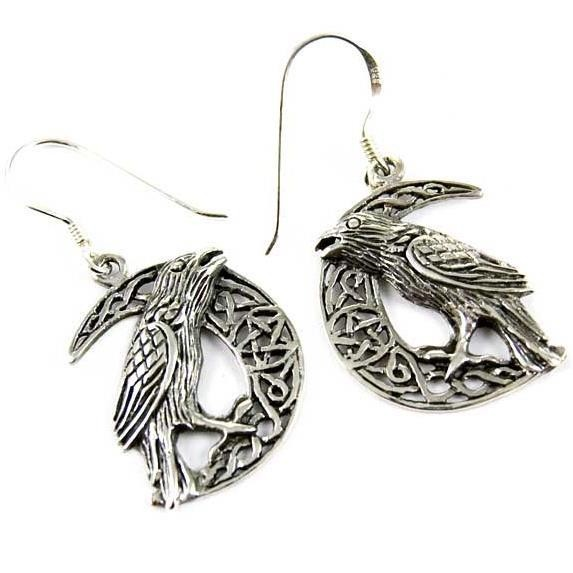 Lisa Parker-Celtic Raven Moon Earrings