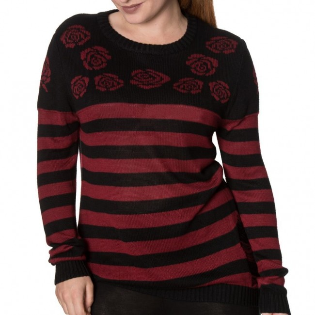Banned Apparel-Cure Striped Rose Jumper