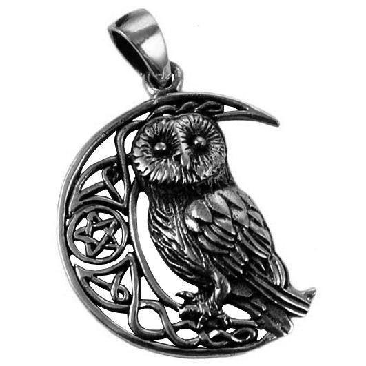 Lisa Parker-Silver Owl Moon Pendant