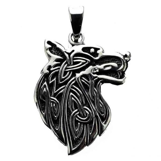 Phoenixx Rising-Silver Celtic Wolf Pendant