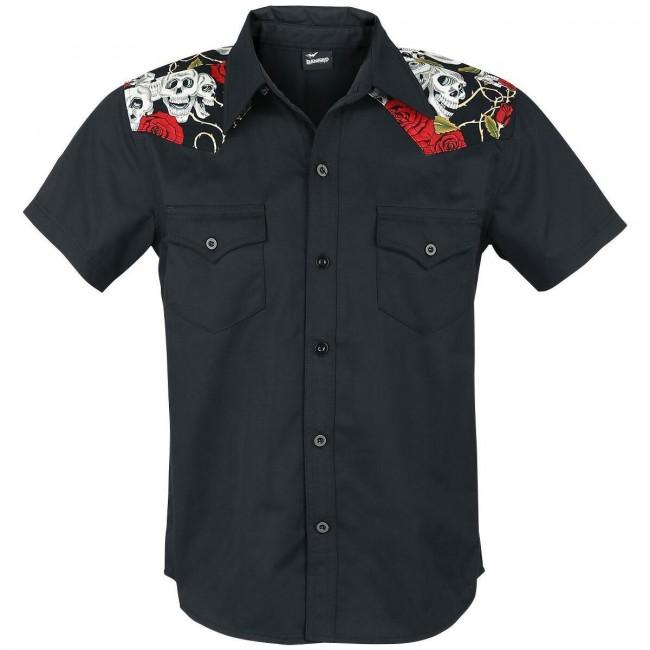 Banned Apparel-Rose Skull Western Shirt