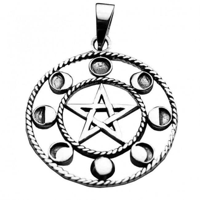 Phoenixx Rising-Silver Pentagram Circle Pendant
