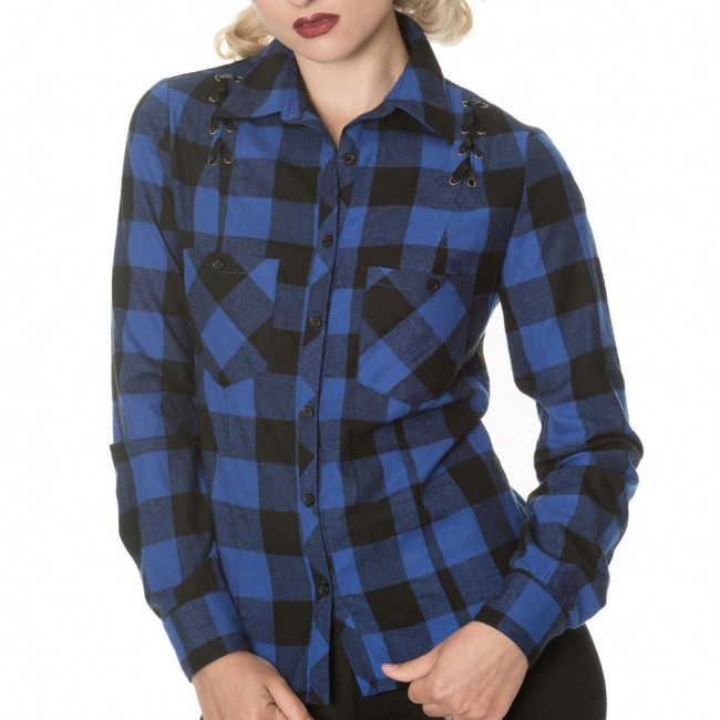 Banned Apparel-Blue Breaking Rules Check Shirt
