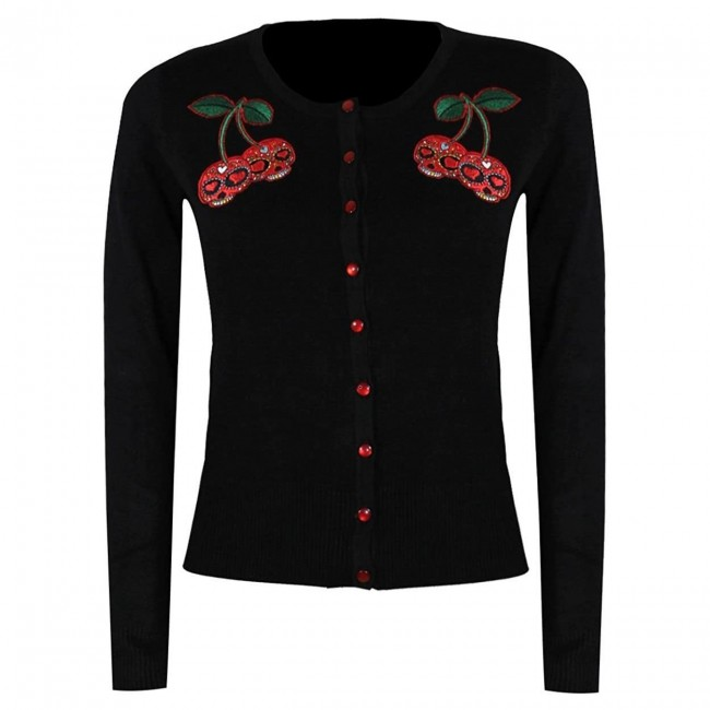 Banned Apparel-Cherry Skulls Cardigan