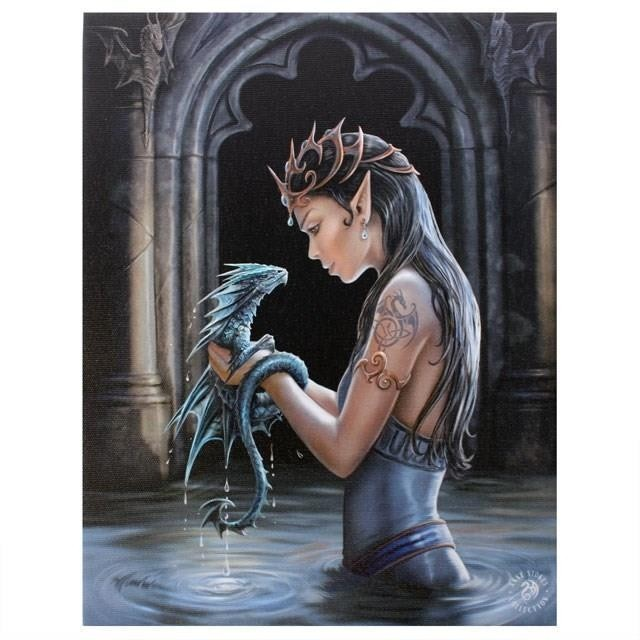 Anne Stokes-Water Dragon Canvas