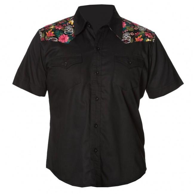 Banned Apparel-Tiki Skull Western Shirt