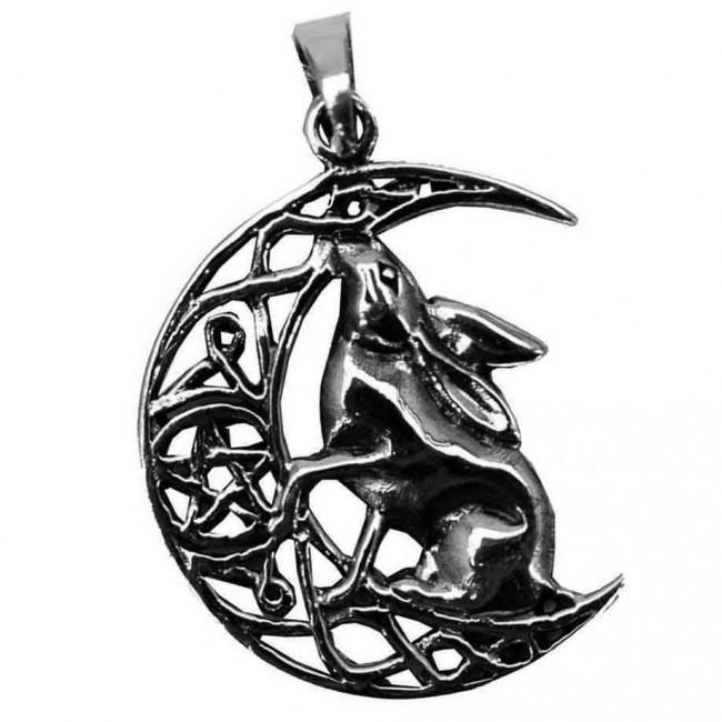 Lisa Parker-Silver Hare On Moon Pendant