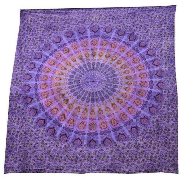 Phoenixx Rising-Purple Mandala Double Bedspread