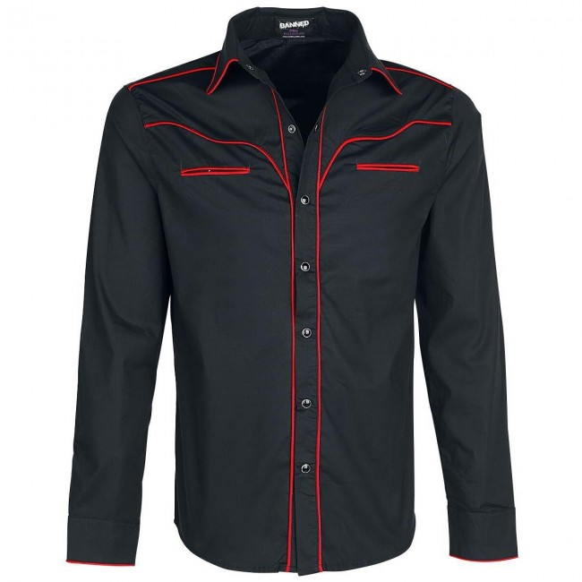 Banned Apparel-Western Red Trim Shirt