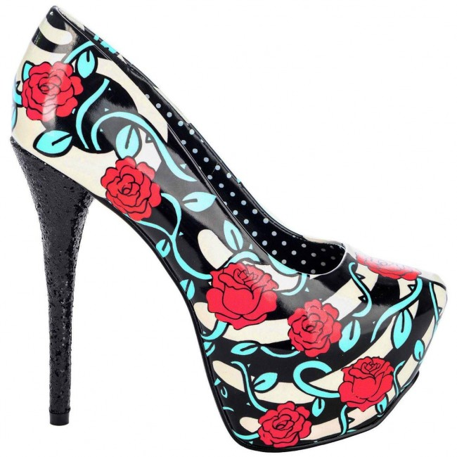 Too Fast-Rose And Vine Glitter Heels