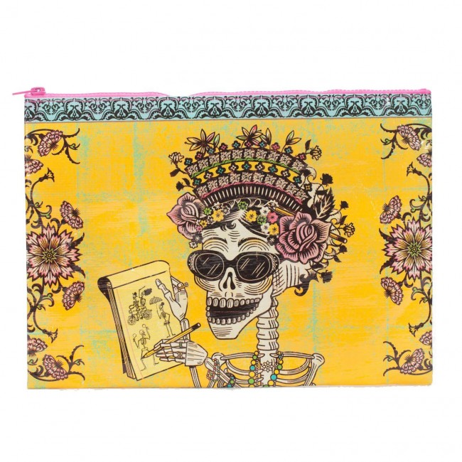 Blue Q-Day Of The Dead Jumbo Pouch