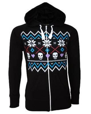 Darkside Clothing-Fair Isle Skull Hooded Top