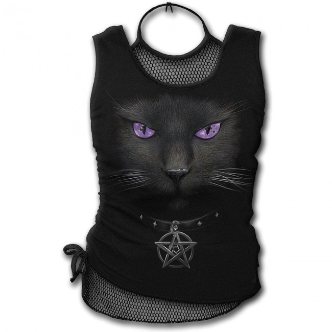 Spiral Direct-Black Cat Mesh Vest