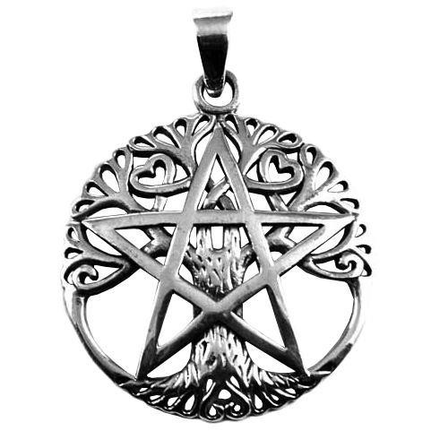 Phoenixx Rising-Silver Pentagram Tree Pendant