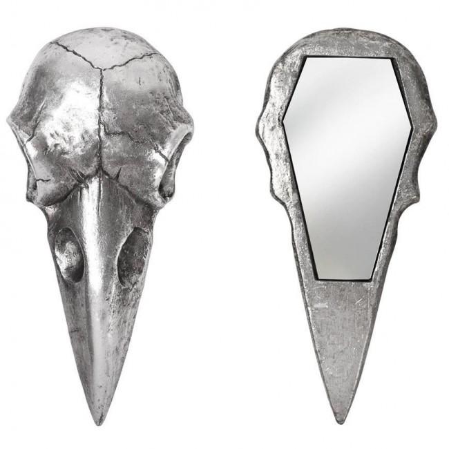 Alchemy Gothic-Raven Skull Silver Hand Mirror