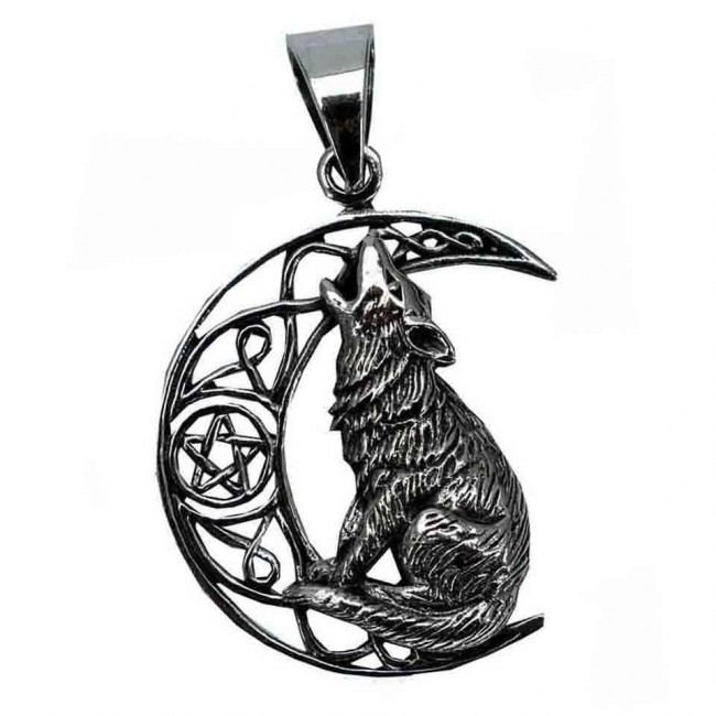Lisa Parker-Silver Moon Wolf Pendant