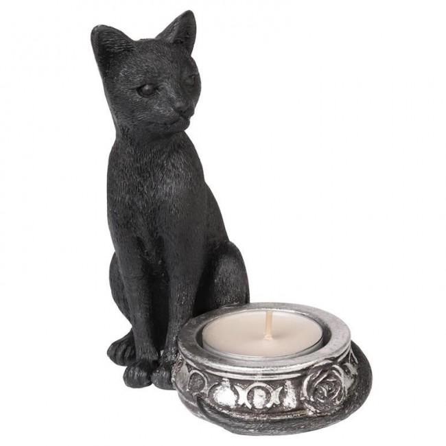 Alchemy Gothic-Black Cat Tea Light Candle Holder