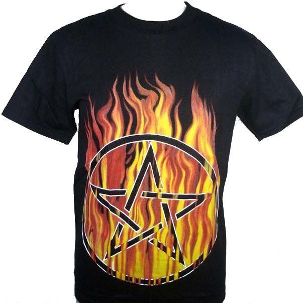 Cleo Gifts-Flaming Pentagram T-shirt