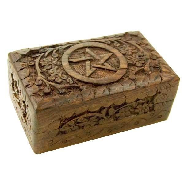 Phoenixx Rising-Pentagram Wooden Carved Box