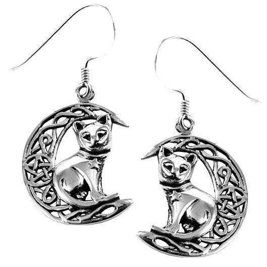 Lisa Parker-Silver Cat On Moon Earrings