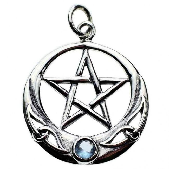 Phoenixx Rising-Silver Pentagram Moon Pendant