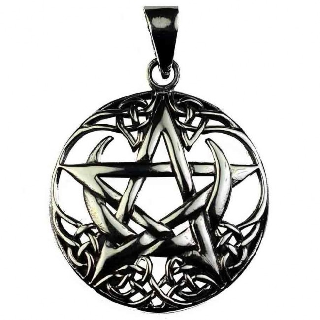 Phoenixx Rising-Silver Crescent Moon Pentagram Pendant
