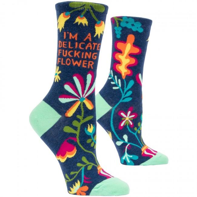 Blue Q-Delicate Fucking Flower Socks