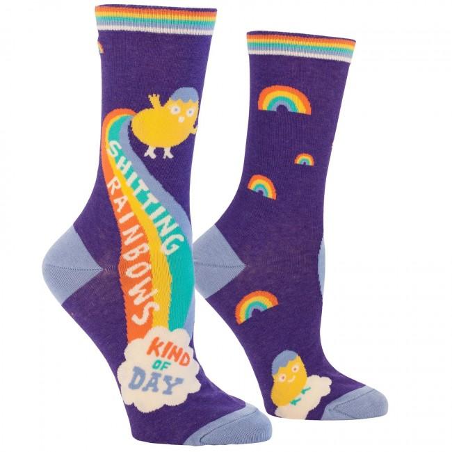 Blue Q-Shitting Rainbows Socks