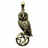 Owl On Pentagram Pendant