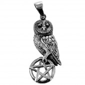Silver Owl On Pentagram Pendant