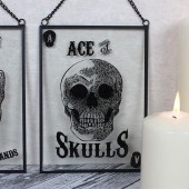 Ace Of Skulls Glass Sign