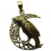 Raven Celtic Moon Pendant