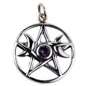 Silver Pentagram Moon Pendant