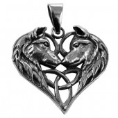 Silver Wolves Heart Pendant