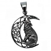 Silver Moon Wolf Pendant