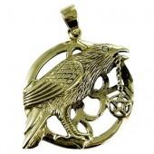 Raven Pentagram Bronze Pendant
